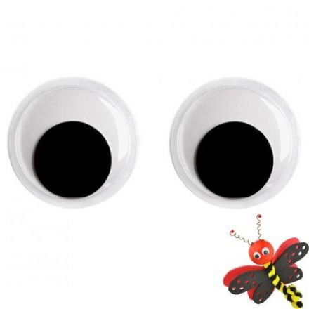 14mm  Diameter - Moving Wobbly Eyes  - Pack of 12  (26114)